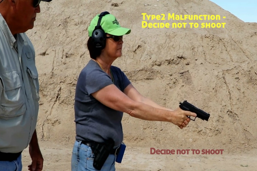 Idaho Firearms Classes Boise-Type 2 Handgun Malfunction-Decide Not to Shoot
