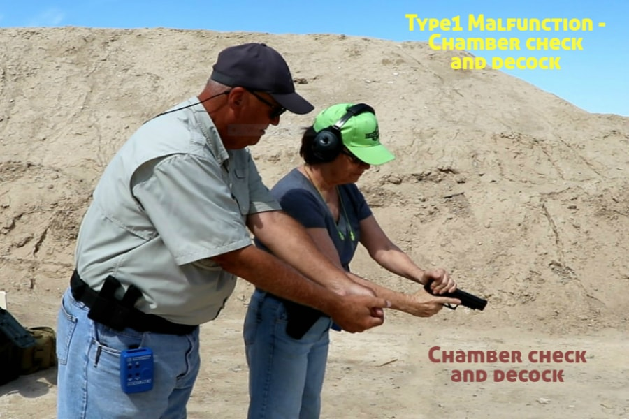 firearms training boise idaho-type 1 handgun malfunction-chamber check and decock