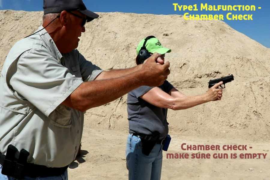 firearms training boise idaho-type 1 handgun malfunction-chamber check