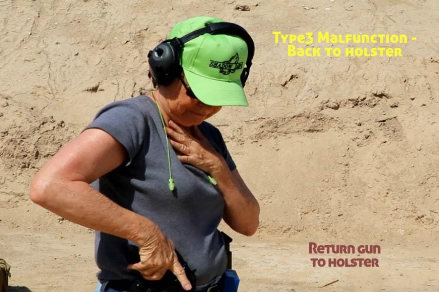 gun training classes boise id-Type 3 handgun Malfunction-return gun to holster